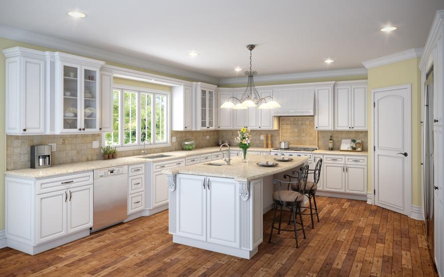 Raised White Kitchen Cabinets @ BuyCabinetDirect.Com